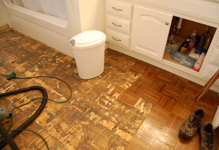 Farmhouse bathroom - removing parquet floor
